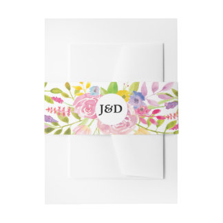 結婚式の腹バンドかわいらしい封筒のピンクの花柄 招待状ベリーバンド