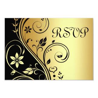 結婚式の花のRsvpの黒い金ゴールドの招待状 カード