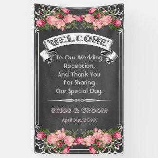 結婚式の黒板の旗、黒板の結婚式の印 横断幕
