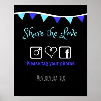 結婚式のHashtagの印 ポスター