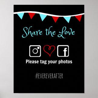 結婚式のHashtagポスター ポスター