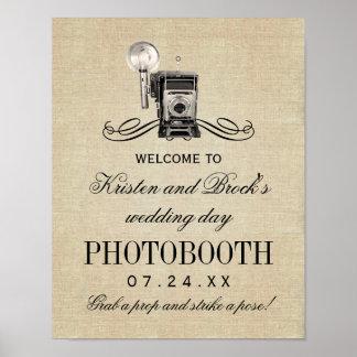 結婚式のPhotoboothの印|のヴィンテージのカメラ ポスター