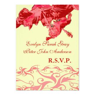 結婚式のrsvpのエキゾチックで赤いハイビスカスのブロケード 14 x 19.1 インビテーションカード