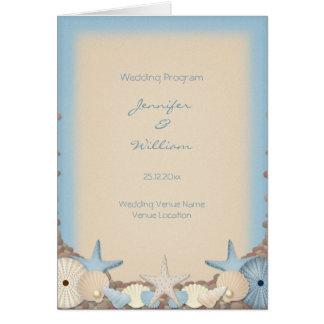 結婚式プログラムの美しい熱帯ビーチの貝 カード