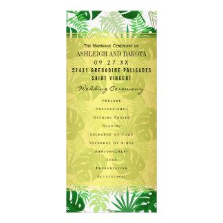 結婚式プログラム のエキゾチックな緑の熱帯葉 ラックカード