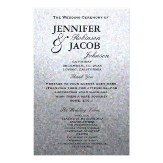 結婚式プログラム|の柔らかい銀製のグリッターの一見 チラシ