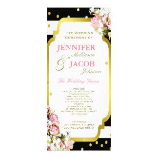 結婚式プログラム|は、バラ、金ゴールドの紙吹雪縞で飾ります ラックカード