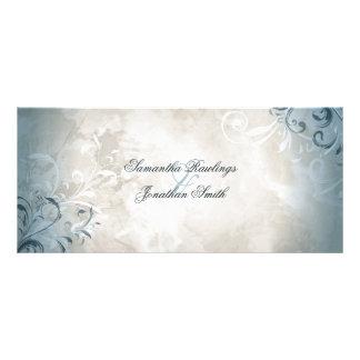 結婚式プログラム-エレガントなヴィンテージの群葉及び渦巻 ラックカード