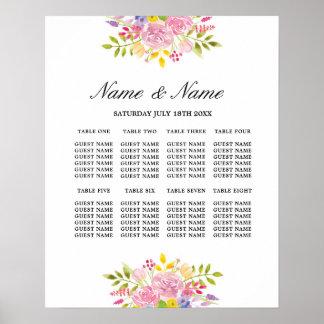結婚式ポスター8着席のピンクの花柄の花の印 ポスター