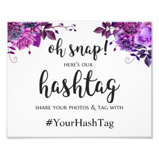 結婚式ポスターhashtagの印。 紫色の結婚式のプリント 写真プリント