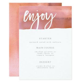 結婚式メニューカード、珊瑚、ピンクの水彩画 カード