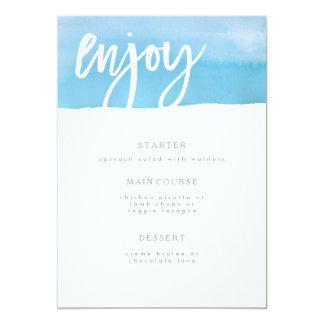 結婚式メニューカード、青い水彩画 12.7 X 17.8 インビテーションカード