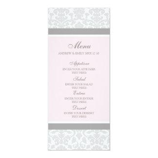 結婚式メニューピンクの灰色の花のダマスク織 カード