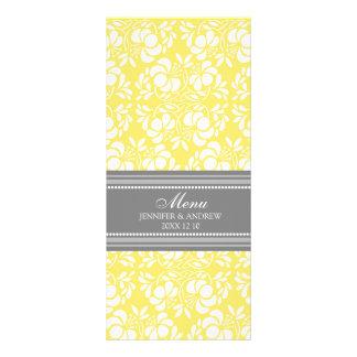 結婚式メニューレモン灰色のダマスク織 カスタマイズラックカード