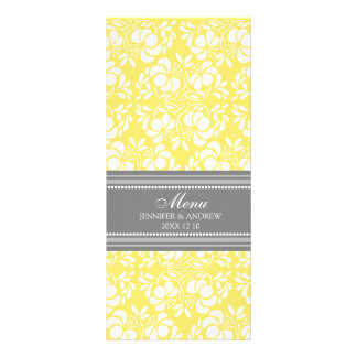 結婚式メニューレモン灰色のダマスク織 ラックカード