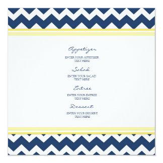 結婚式メニュー黄色の青シェブロン カード