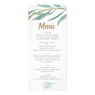 結婚式メニュー-ブライダルシャワーメニュー素朴な緑の草木 ラックカード