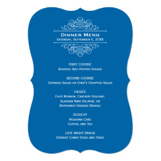 結婚式夕食メニューカード|クラシックな青 カード