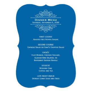 結婚式夕食メニューカード|クラシックな青 12.7 X 17.8 インビテーションカード