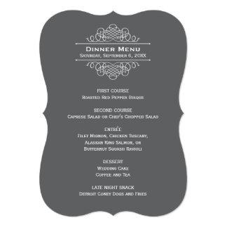 結婚式夕食メニューカード|チャコールグレー 12.7 X 17.8 インビテーションカード