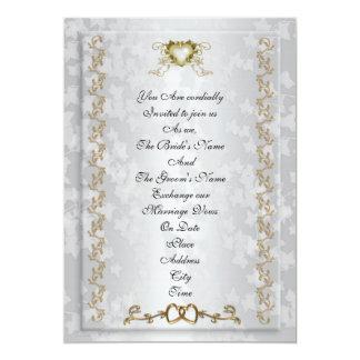 結婚式招待状のエレガントな金ゴールドのハート カード