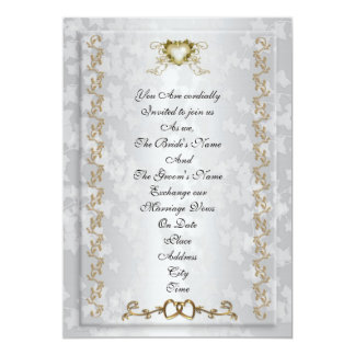 結婚式招待状のエレガントな金ゴールドのハート 12.7 X 17.8 インビテーションカード