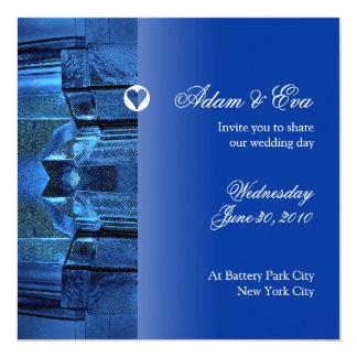 結婚式招待状のサファイアの青い宝石用原石のモザイク カード