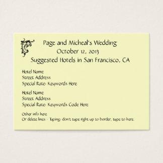 結婚式招待状のホテルの予約の提案 チャビ―名刺