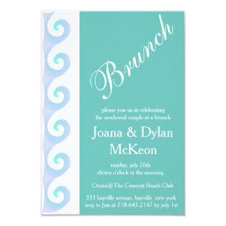 結婚式招待状の後のターコイズのブランチ カード