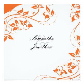 結婚式招待状の明るいオレンジ及び白い花柄 13.3 スクエアインビテーションカード