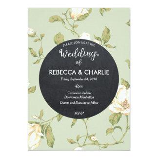 結婚式招待状の淡いブルーの花の黒板 カード