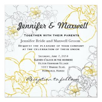 結婚式招待状の灰色および黄色の花 カード
