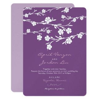 結婚式招待状の白い花のプラムラベンダー 12.7 X 17.8 インビテーションカード