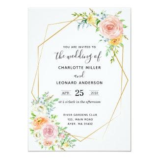 結婚式招待状の花の薄暗がりのピンクおよび金ゴールド カード