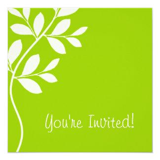 結婚式招待状の葉の枝ライムグリーン カード