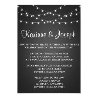 結婚式招待状の黒、黒板、ひもライト カード