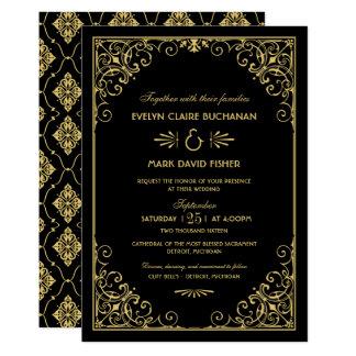 結婚式招待状|のアールデコのスタイル 12.7 X 17.8 インビテーションカード