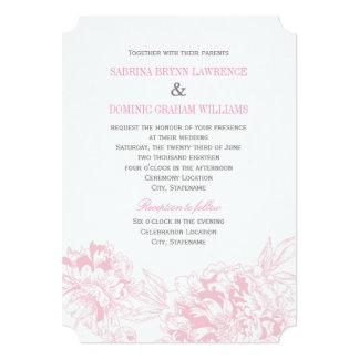 結婚式招待状|のピンクの花のシャクヤクのデザイン 12.7 X 17.8 インビテーションカード