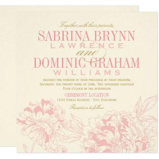 結婚式招待状|のピンクの花のシャクヤクのデザイン 13.3 スクエアインビテーションカード
