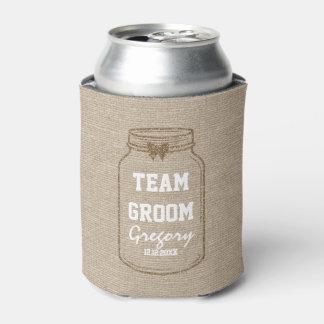 結婚式招待状|のメーソンジャーのリネンチーム新郎 缶クーラー