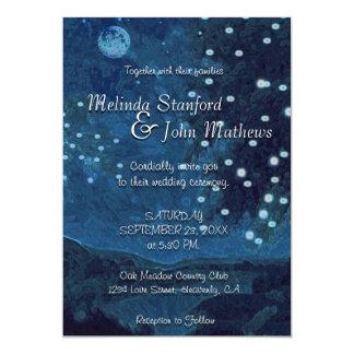 結婚式招待状 の素朴な国の青夜 カード