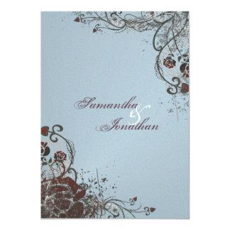 結婚式招待状-エレガントな粉砕された赤いバラ カード