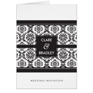 結婚式招待状:: ダマスク織の景色の黒 カード