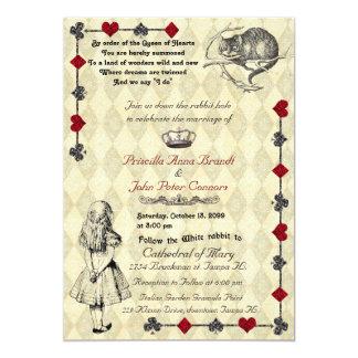 """結婚式招待状""""不思議の国"""" 5x7のアリス 12.7 x 17.8 インビテーションカード"""