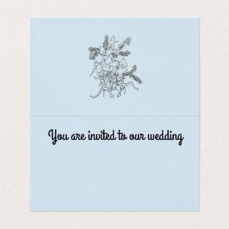 結婚式招待状、折目カード青 カード