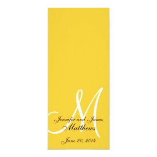 結婚式教会プログラムモノグラムの黄色及び白 カード