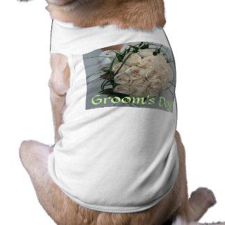 結婚式犬のTシャツの新郎 ペット服