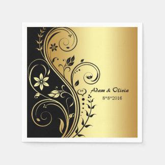 結婚式花スクロール黒の金ゴールドのナプキン スタンダードカクテルナプキン