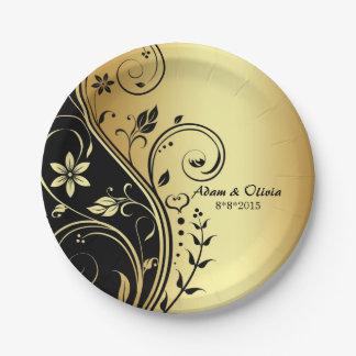 結婚式花スクロール黒の金ゴールドプレート ペーパープレート