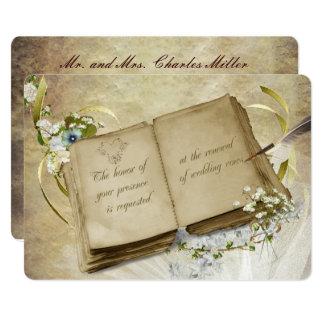結婚式誓約の更新のヴィンテージの本 カード